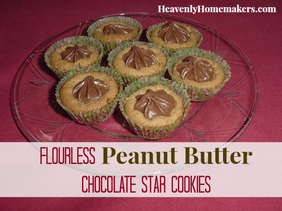 Flourless Peanut Butter Chocolate Star Cookies