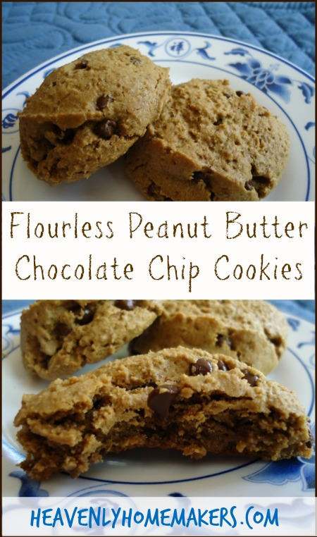 Flourless Peanut Butter Chocolate Chip Cookies | Heavenly Homemakers