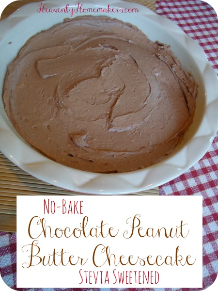 No Bake Chocolate Peanut Butter Cheesecake - Stevia Sweetened