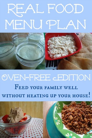 Oven Free Real Food Menu Plan