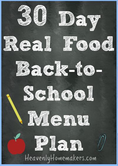 30 Day Real Food Menu Plan