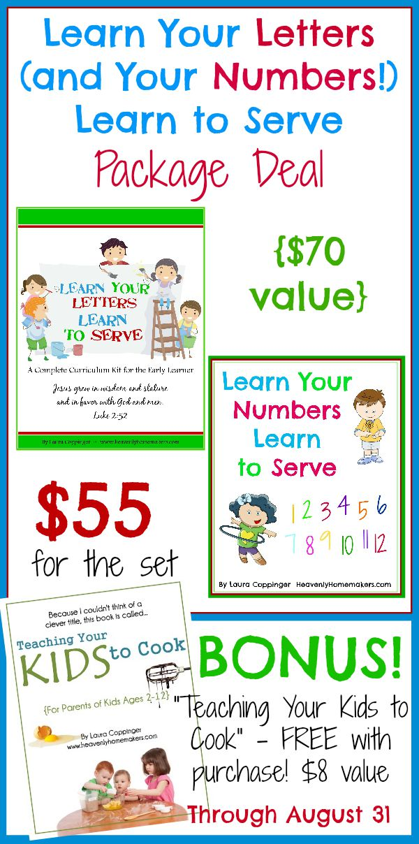 Learn Your Letters, Learn Your Numbers with FREE Cooking Book Bonus