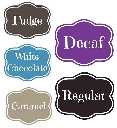 coffee bar labels