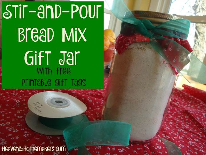 Stir-and-Pour Bread Mix Gift Jar with Free Printable Gift Tags