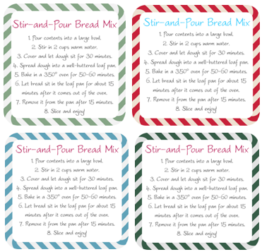 Stir and Pour Bread Mix Gift Tags