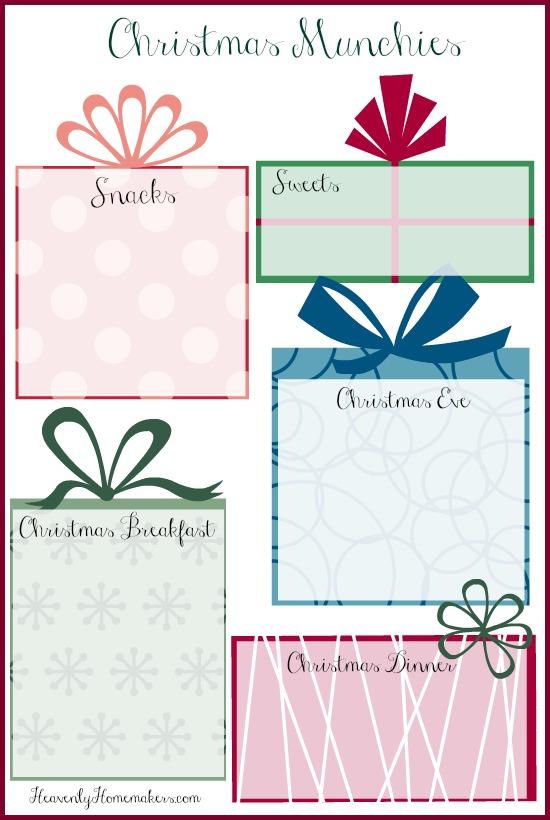 Christmas Munchies Free Printable