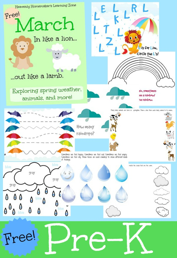 Free Pre-K March Learning Activity Packet