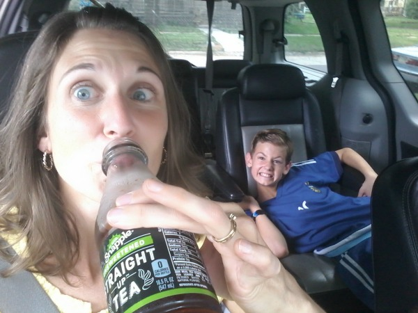 Snapple selfie with photo bomber
