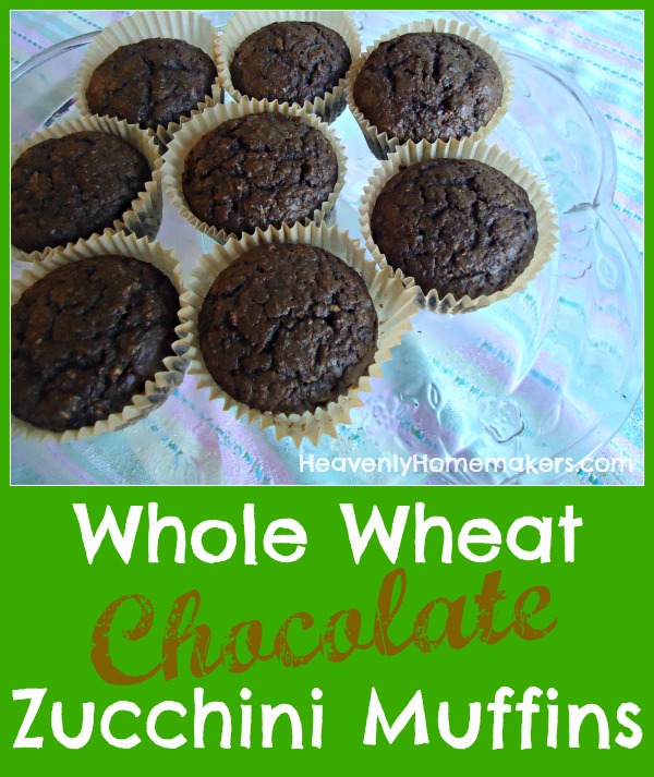 Whole Wheat Chocolate Zucchini Muffins