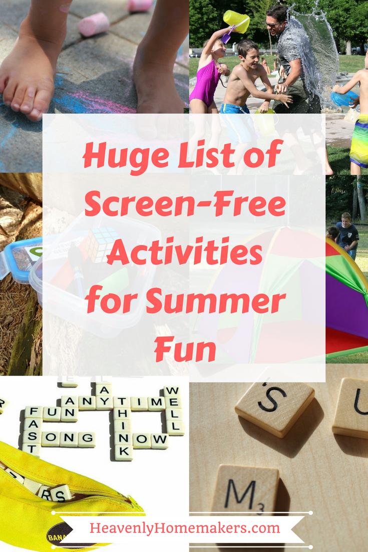 Huge List of Screen-Free Activitiesfor Summer Fun