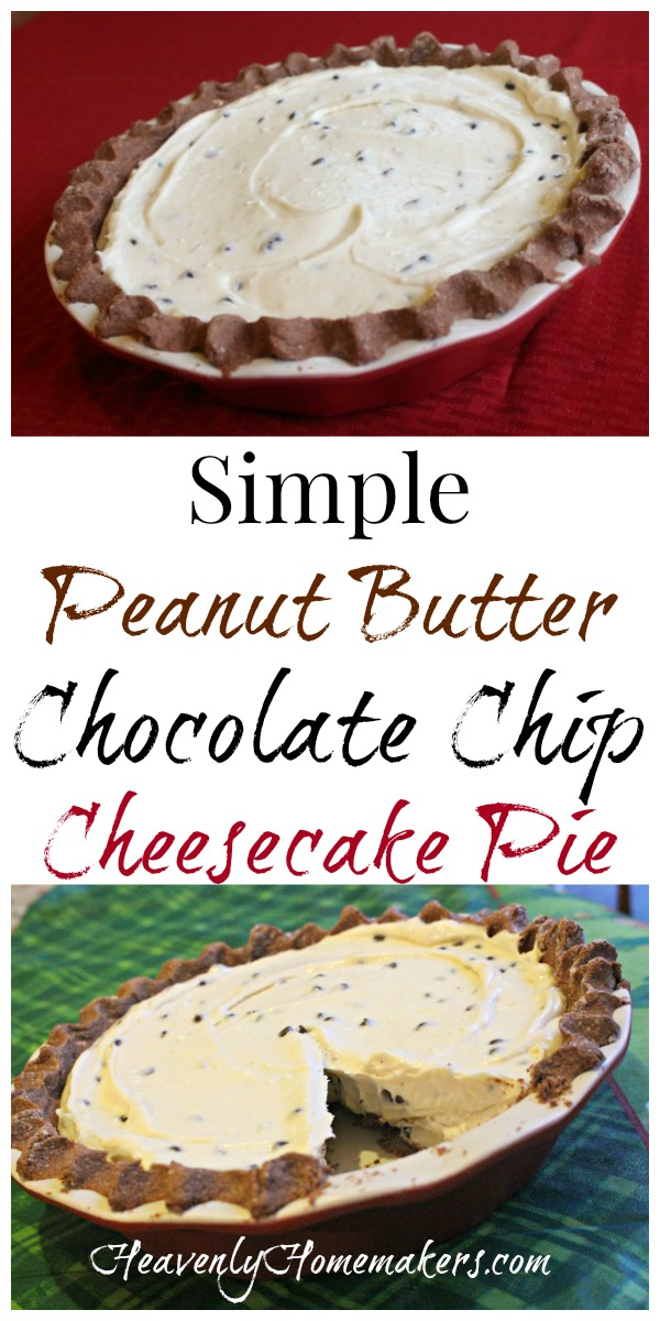 Simple Peanut Butter Chocolate Chip Cheesecake Pie
