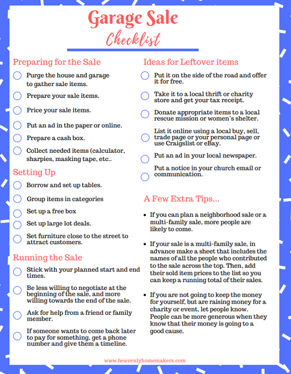 here s your free garage sale printable heavenly homemakers