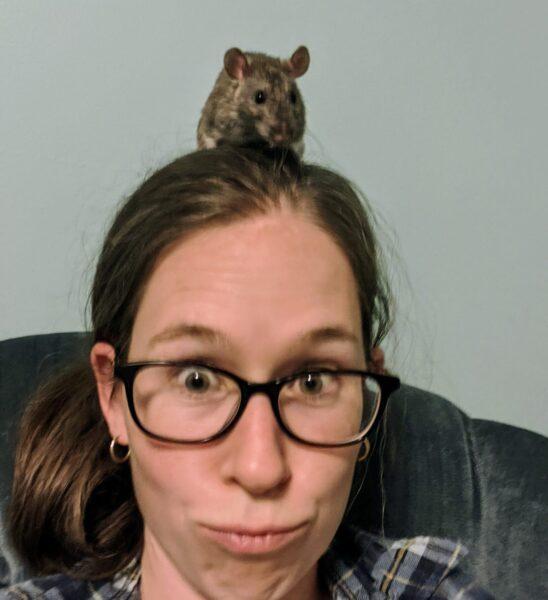 pet rat on Tashas head